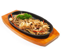 Japanese Cuisine - Hot Noodles With Seafood Royalty Free Stock Images