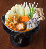 Japanese Cuisine. Hot Pot On The Background Stock Photo