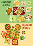 Japanese cuisine icon set for asian food design. Japanese cuisine menu icon set with seafood rice salad, sushi with shrimp and tuna, grilled fish, meat Royalty Free Stock Photography
