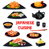 Japanese cuisine icon of traditional asian food. Japanese cuisine healthy dishes for lunch cartoon icon of sushi with salmon and shrimp, prawn tempura, noodle Stock Photography