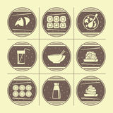 Japanese cuisine. Icons set in retro style Royalty Free Stock Photography