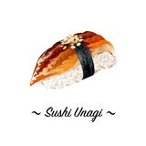 Japanese Cuisine, Illustration of Delicious Unagi Nigiri or Smoked Eel Sushi with Sauced. Royalty Free Stock Photography