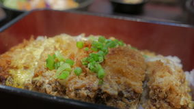 Japanese cuisine Katsudon. Fried Pork with egg, onion on rice stock footage