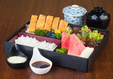 Japanese cuisine. lunch box set on background Stock Photography