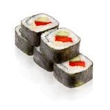 Japanese cuisine. Maki sushi. On white background Stock Image