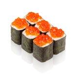Japanese cuisine. Maki sushi with caviar. Japanese cuisine. sushi with caviar is isolated on a white background Royalty Free Stock Photos
