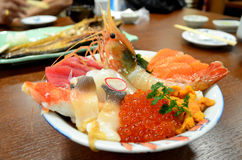 Japanese cuisine, mix sea food sashimi rice bowl Stock Image
