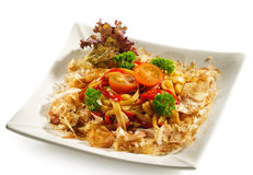 Japanese Cuisine - Noodles with Salmon stock image