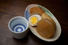 Japanese Cuisine Oden and sake Stock Photography