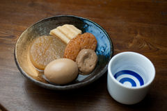Japanese Cuisine Oden and sake Stock Images