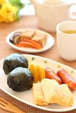 Japanese cuisine, Onigiri rice balls lunch table Stock Photo