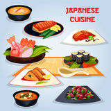 Japanese cuisine popular dishes for lunch icon. Japanese cuisine popular dishes icon. Fried fish with vegetable, sushi roll and sashimi, grilled salmon with Stock Images