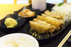 Japanese cuisine, pork with cheese deep fried cutlet Japanese food famous, Cheese Tonkatsu. Tonkatsu served with rice and salad royalty free stock photos