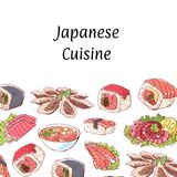 Japanese cuisine poster with asian dishes. Japanese cuisine poster with delicious asian dishes on white background. Octopus, oysters, tuna, nigiri, sushi roll Stock Image