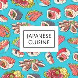 Japanese cuisine poster with asian dishes. Octopus, oysters, tuna, nigiri, sushi roll with shrimps, sashimi with salmon and soup with seafoods vector Stock Photo