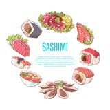 Japanese cuisine poster with asian dishes. Japanese cuisine poster with asian food on white background. Octopus, oysters, tuna, nigiri, sushi roll with shrimps Royalty Free Stock Images