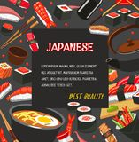 Japanese restaurant menu poster with seafood sushi. Japanese cuisine poster of asian seafood dishes. Assortment of sushi with salmon fish, rice and seaweed Royalty Free Stock Photo