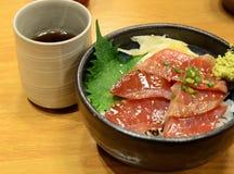 Japanese cuisine, raw tuna on rice Stock Photo