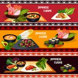 Japanese cuisine restaurant banner of seafood dish. Japanese cuisine restaurant menu banner set of seafood dishes. Sushi roll, fish sashimi and grilled salmon Stock Photography