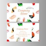 Japanese cuisine restaurant business card Royalty Free Stock Image
