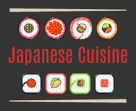 Japanese cuisine restaurant logo template. Healthy east food. Vector illustration Royalty Free Stock Photography
