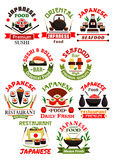 Japanese cuisine restaurant signs set. Japanese cuisine signs set. Vector  icons of sushi shrimp rolls, salmon sashimi, steamed rice and seafood wok, teapot Royalty Free Stock Images