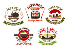 Japanese cuisine restaurant and sushi icons Royalty Free Stock Photography