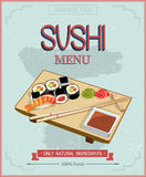 Japanese cuisine restaurant sushi menu cover template in vintage style. Royalty Free Stock Image