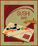 Japanese cuisine restaurant sushi menu cover template in vintage style. Stock Photography