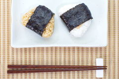 Japanese cuisine, rice ball Onigiri Royalty Free Stock Photos