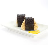Japanese cuisine, rice ball Onigiri Royalty Free Stock Photo