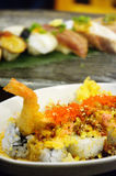 Rice with Tempura or crispy shrimp Royalty Free Stock Photo