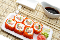 Japanese Cuisine - Rolls with Caviar Royalty Free Stock Image
