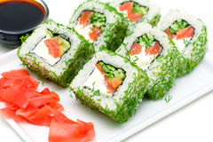 Japanese cuisine - rolls closeup Royalty Free Stock Image