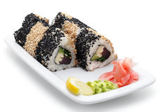 Japanese Cuisine - Rolls with Sesame Stock Image