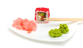 Japanese cuisine. rolls, wasabi and pickled ginger. Stock Photos
