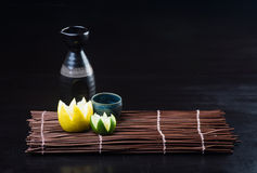 Japanese cuisine. sake on the background Stock Photos