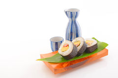 Japanese cuisine sake and sushi Royalty Free Stock Photography