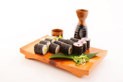 Japanese cuisine sake and sushi Stock Images