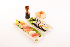 Japanese cuisine sake and sushi Stock Photo