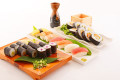 Japanese cuisine sake and sushi Royalty Free Stock Photo