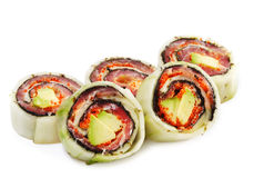 Japanese Cuisine - Salmon Rolls Royalty Free Stock Image