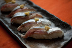 Japanese Cuisine Sanma (Pacific saury) Sushi Royalty Free Stock Photography