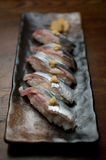 Japanese Cuisine Sanma (Pacific saury) Sushi Royalty Free Stock Images