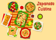 Japanese cuisine seafood dinner dishes icon. Japanese cuisine seafood dinner icon of grilled fish on sticks, seafood rice salad, fried shrimp ball, chicken Royalty Free Stock Images