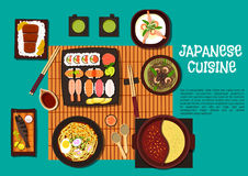 Japanese cuisine seafood dishes with hot pot icon Stock Image