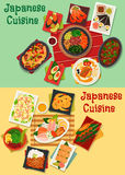 Japanese cuisine seafood and meat dishes icon. Japanese cuisine sushi and sashimi platter icon with seafood salad, shrimp, teriyaki pork, vegetable beef stew Stock Images