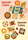 Japanese cuisine seafood sushi icon set. Japanese cuisine seafood sushi dishes icon served with grilled fish, salmon roll and salad, shrimp, beef noodle, chicken Stock Images