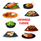 Japanese cuisine seafood sushi, meat dishes icon. Japanese cuisine seafood sushi and meat dishes icon. Sushi roll and temaki with fish, shrimp, seaweed, cucumber Royalty Free Stock Photography