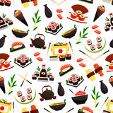 Japanese cuisine seafood, sushi seamless pattern Stock Image